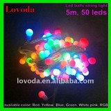 5m, 50 leds, waterproof Led ball string light- led christmas light LFDB-50RGB