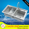 LR8246A satin double bowl China stainless kitchen sink