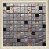 2014 factory price Gray travertine marble blend Glass Mosaic Tiles