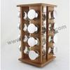 Bamboo glass spice rack 16pcs
