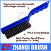High Carbon Steel Wire Brushes, Strong Plastic Curved Body Fitted With Finger Grip Handle, 4*16 Rows Of Strong Wire Bristles