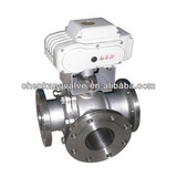China Made Cast Steel Flanged Electric 3 Way Ball Valve
