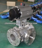 Stainless Steel 3 Way Ball Valve With Pneumatic Actuator Made By China Supplier