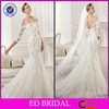 China Supplier Long Sleeve Lace Appliqued Sheath Wedding Dresses