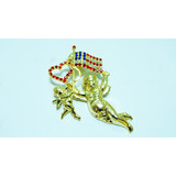 Flag shape brooch pin with rhinestone