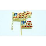 Brass fancy National flag of American crystal rhinestone bow shape jewellery brooch pin
