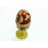 red egg shaped metal jewellery box decoration with magent closure , oil dripping surface effects with rhinestone for home or office