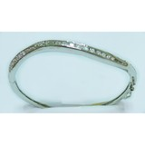 Silver plated rhinestone brass bangle