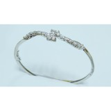 Silver plated brass bangle with dazzle diamonds