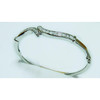 Silver plated rhinestone brass bangle for woman