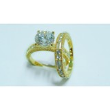 Latest fashion jewellery gold brass double ring with rhinestone