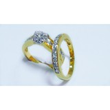Latest fashion design simple gold plating double ring with white CZ