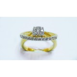 Fashion double ring with white CZ
