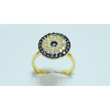 Newest cluster colorful CZ brass ring with gold plating