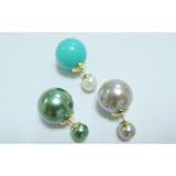 Fashion design,big colorful pearl and small white pearl double sided earring