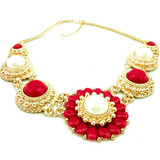 New design fashion alloy neckalce with acrylic and pearl