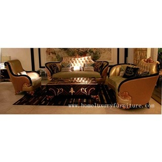 Leather sofa with fabric seat cushion living room sofa sets coffee table luxury furniture