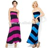fashion lady maxi dress design off shoulder dress wholesale color block dress