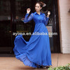 hot selling lace long sleeve maxi dress plain navy chiffon muslim women long dress muslim long dress chiffon