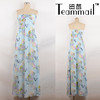 Summer Fashion middle east Flower Print Tunic Dress, Ladies Chiffon Long tube Dress
