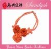 Beaautiful Handmade Bouquet Jewelry Orange Floral Stone Necklace