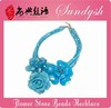 Large Blue Stone Flower Sparkling Necklace Handmade Couture Jewelry