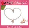 Handmade Diamond LOVE Heart Pendant Pearl Jewelry