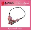 Hot Pink Gemstone Flower Handmade Black Leather Necklace