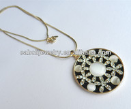 Hot Gemstone and Crystal Decorated Opal Pendant Necklace