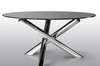 2014 stainless steel base tempered glass top round dining table