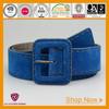women soft blue split leather belt