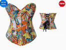 Colorful Impressionistic Design Sexy Xxl Woman Printing Demin Underwear with G-string (1521 yellow)