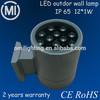 long lifespan 12W outdoor led wall lamp IP65