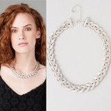 chic flat silver braided choker necklace