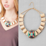 jeweled medallion and unique brushed gloden box chain choker necklace