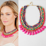 braided chain teardrop stones and beads necklace