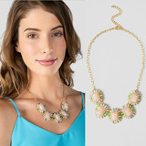 wholesale cheap price pale pink jeweled acrylic necklace