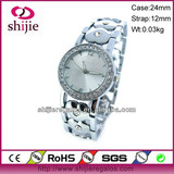 women quartz watches fashion 2013 japan movt cheap price stainless steel with stone