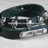 cheap leather skull bracelet