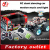 Newest 1/14 Colorful Flashing spinning top RC Stunt car With MP3 player