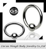 Titanium 5 Captive Bead Rings, Ball Closure Rings (CBR, BCR)