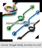 "316L stainless steel Titanium Anodized 14G 1&1/2"" Looped Industrial Barbell jewelry"