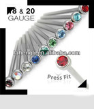 316L stainless steel Prong Set gem Steel Nose Stud