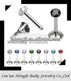 316L Surgical Steel Internally Threaded Labret with Prong Set Gem Top jewelry set