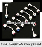 316L stainless steel Double gem ball Eyebrow Ring diamond ring piercing jewely