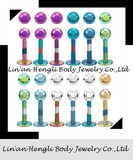 Anodized Labrets jewelry with Ball body lip piercing jewelry
