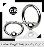 Grade 5 titanium Captive Bead Ring with ball wholesale jewelry