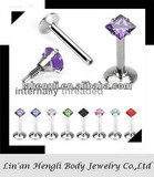316L Surgical Steel Internally Threaded Square Labret with Prong Set Gem Top jewelry set