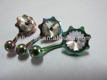 Flower Gem Belly ring,Belly Dance Rings,316L Stainless Steel Jewelry