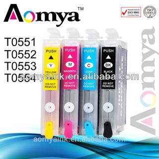 Empty T0551-T0554 refillable ink cartridges with chip